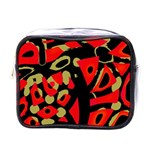 Red artistic design Mini Toiletries Bags Front