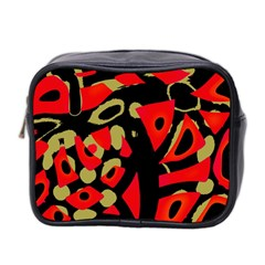 Red Artistic Design Mini Toiletries Bag 2 Side