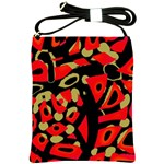 Red artistic design Shoulder Sling Bags Front
