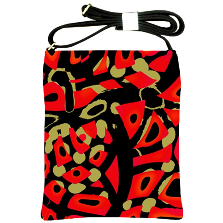 Red artistic design Shoulder Sling Bags