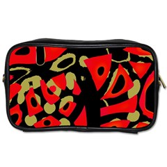 Red Artistic Design Toiletries Bags 2 Side