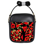 Red artistic design Girls Sling Bags Front