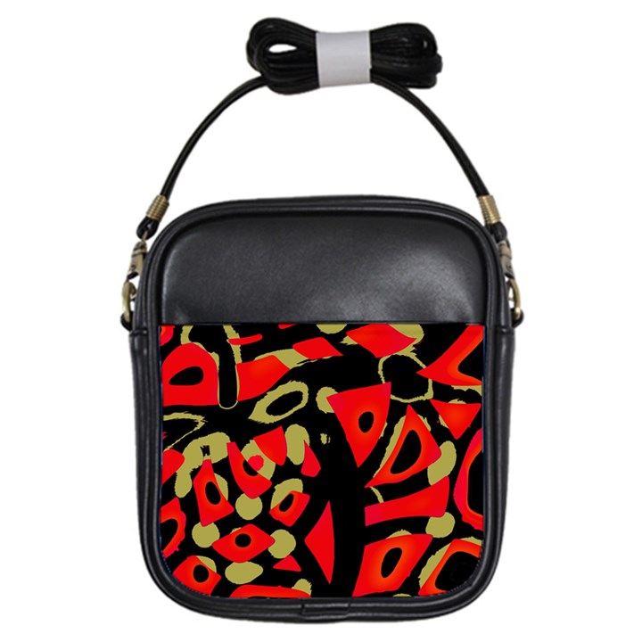 Red artistic design Girls Sling Bags