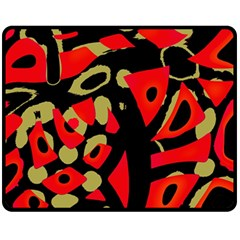 Red artistic design Fleece Blanket (Medium)
