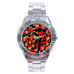 Red artistic design Stainless Steel Analogue Watch