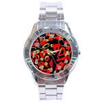Red artistic design Stainless Steel Analogue Watch Front