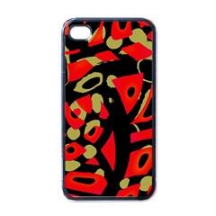 Red Artistic Design Apple Iphone 4 Case (black)