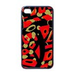 Red artistic design Apple iPhone 4 Case (Black) Front