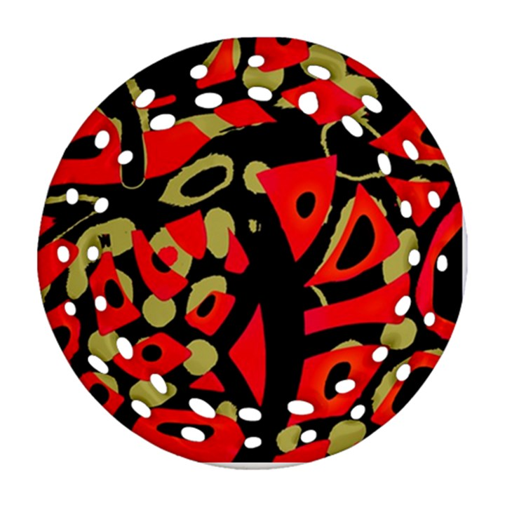 Red artistic design Ornament (Round Filigree)