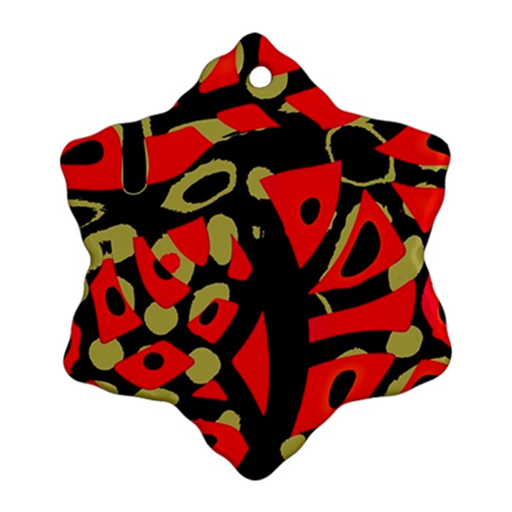 Red artistic design Snowflake Ornament (2-Side)