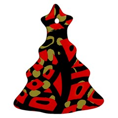 Red Artistic Design Christmas Tree Ornament (2 Sides)
