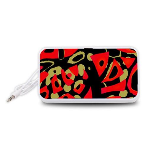 Red artistic design Portable Speaker (White)