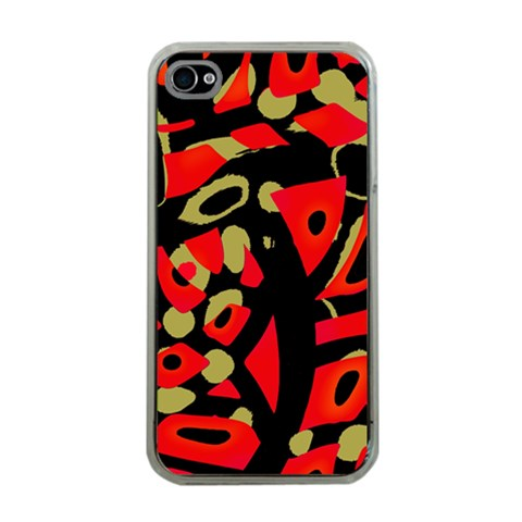Red artistic design Apple iPhone 4 Case (Clear)