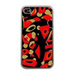 Red artistic design Apple iPhone 4 Case (Clear) Front
