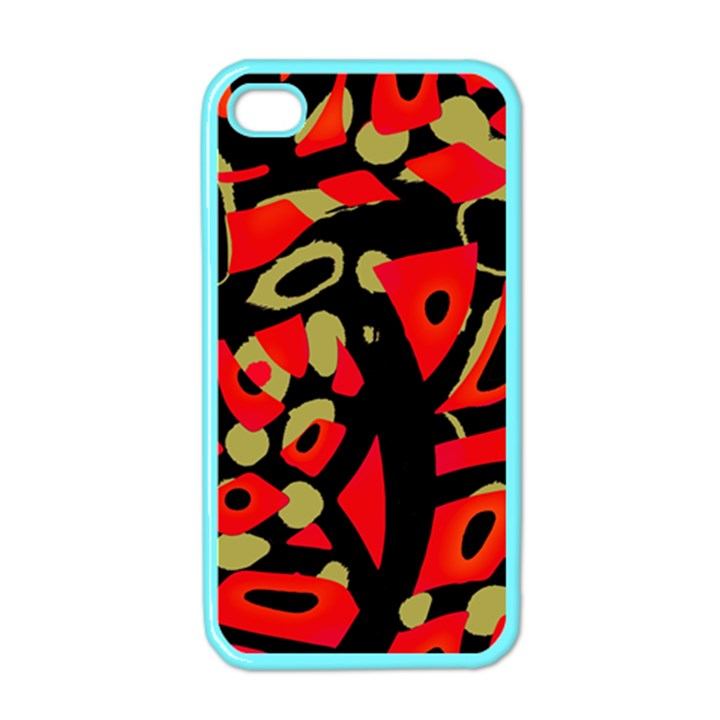 Red artistic design Apple iPhone 4 Case (Color)