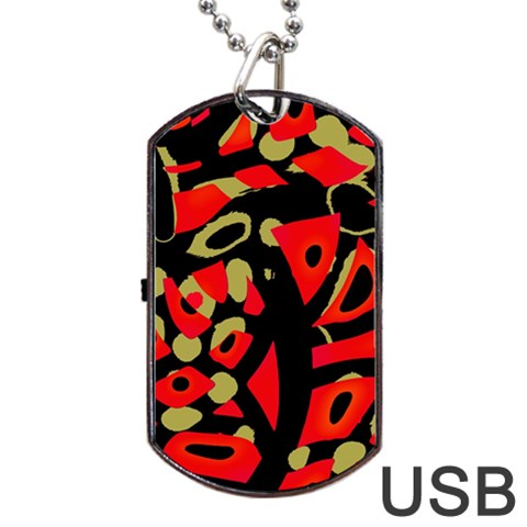Red artistic design Dog Tag USB Flash (Two Sides)