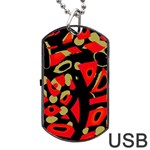 Red artistic design Dog Tag USB Flash (Two Sides)  Front
