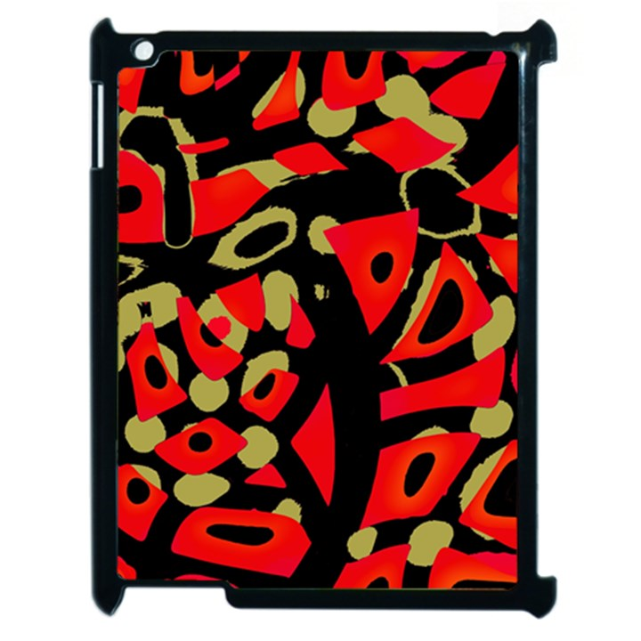 Red artistic design Apple iPad 2 Case (Black)