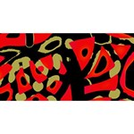 Red artistic design HUGS 3D Greeting Card (8x4) Front