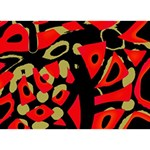 Red artistic design TAKE CARE 3D Greeting Card (7x5) Back