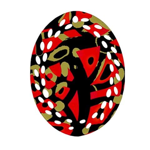 Red artistic design Ornament (Oval Filigree)