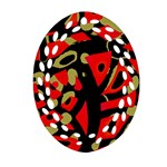 Red artistic design Oval Filigree Ornament (2-Side)  Back