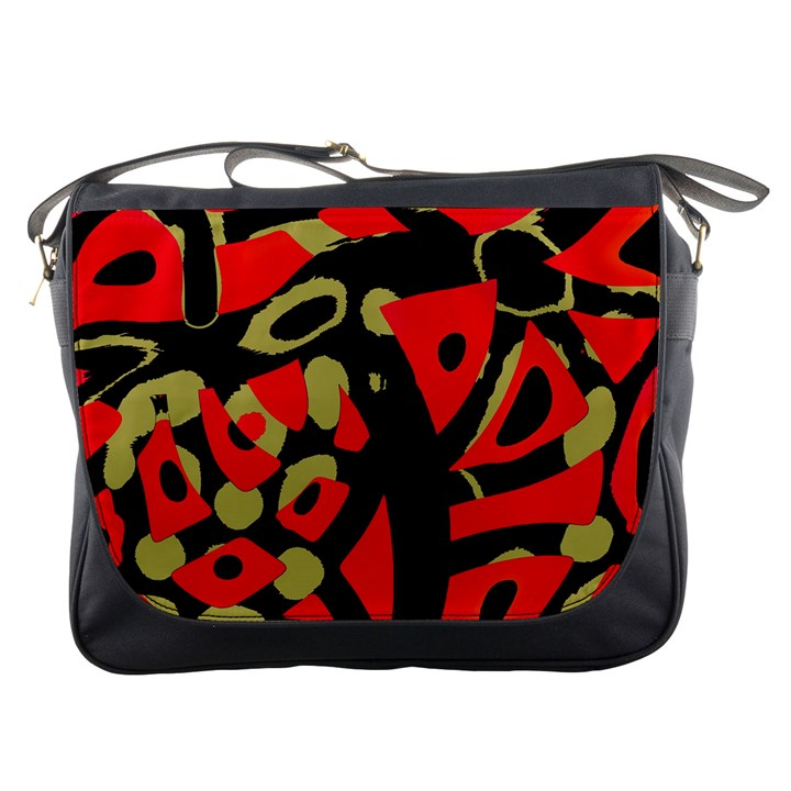 Red artistic design Messenger Bags