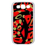 Red artistic design Samsung Galaxy S III Case (White) Front