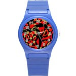 Red artistic design Round Plastic Sport Watch (S) Front