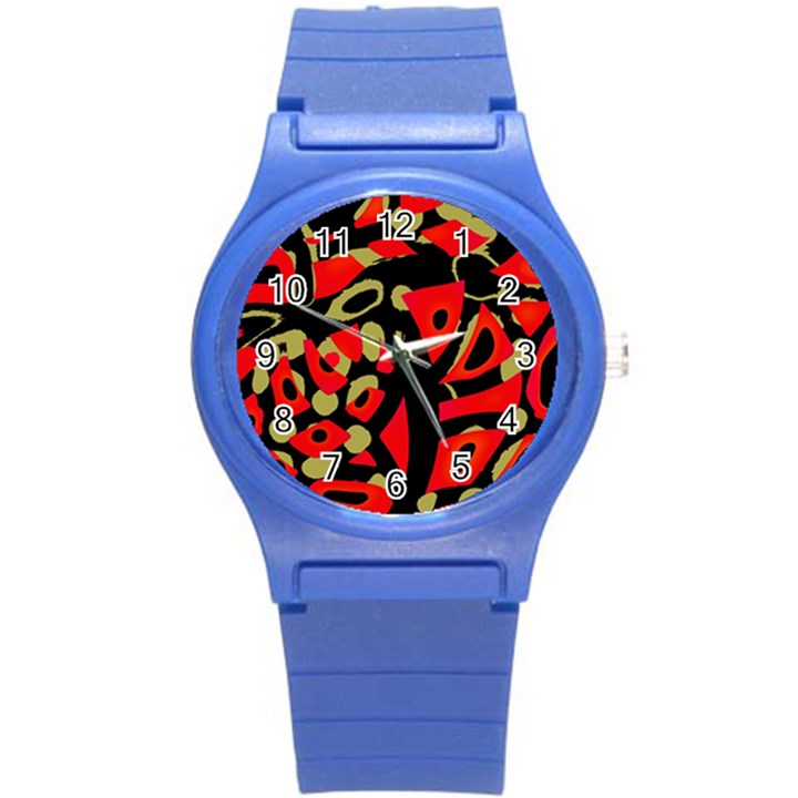 Red artistic design Round Plastic Sport Watch (S)