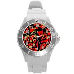 Red artistic design Round Plastic Sport Watch (L) Front