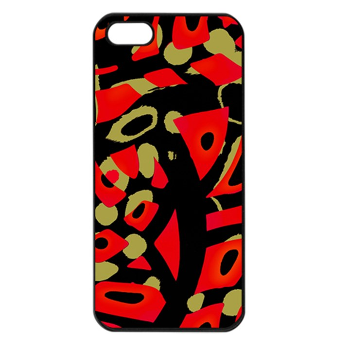 Red artistic design Apple iPhone 5 Seamless Case (Black)