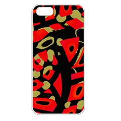 Red artistic design Apple iPhone 5 Seamless Case (White)