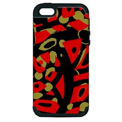 Red Artistic Design Apple Iphone 5 Hardshell Case (pc+silicone)