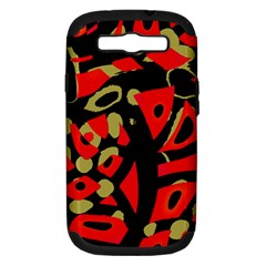 Red artistic design Samsung Galaxy S III Hardshell Case (PC+Silicone)