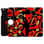 Red artistic design Apple iPad Mini Flip 360 Case Front