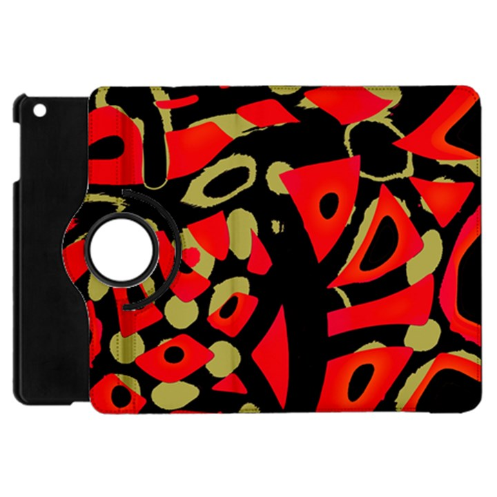 Red artistic design Apple iPad Mini Flip 360 Case