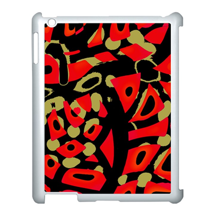 Red artistic design Apple iPad 3/4 Case (White)