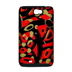 Red artistic design Samsung Galaxy Note 2 Hardshell Case (PC+Silicone)