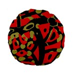 Red artistic design Standard 15  Premium Round Cushions Back
