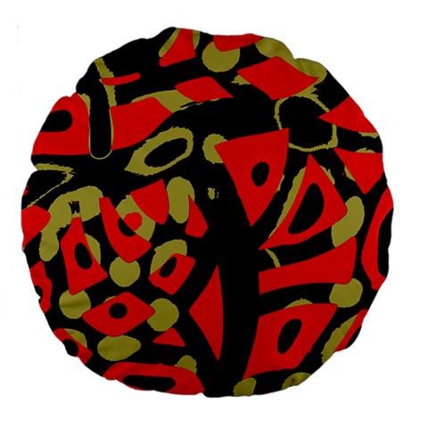 Red artistic design Large 18  Premium Round Cushions