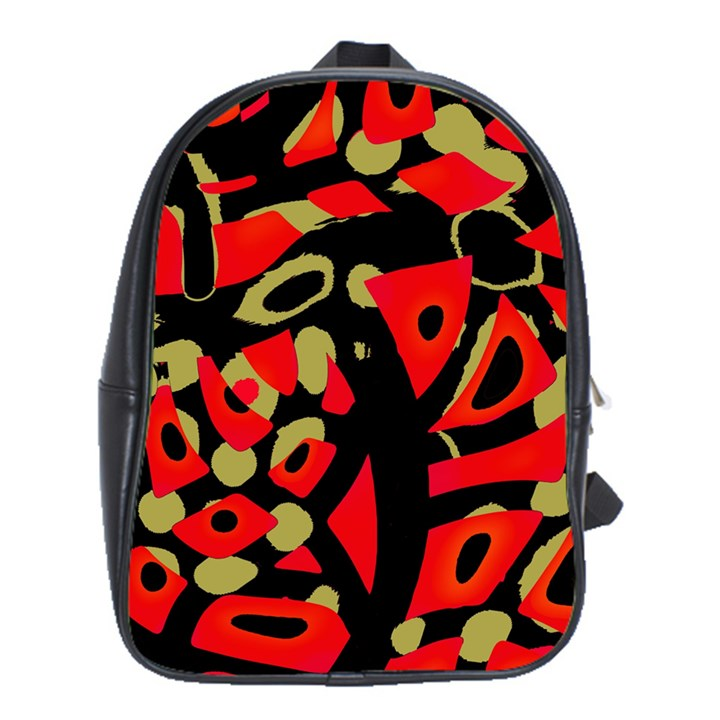 Red artistic design School Bags (XL)