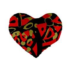 Red Artistic Design Standard 16  Premium Heart Shape Cushions