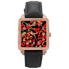 Red artistic design Rose Gold Leather Watch