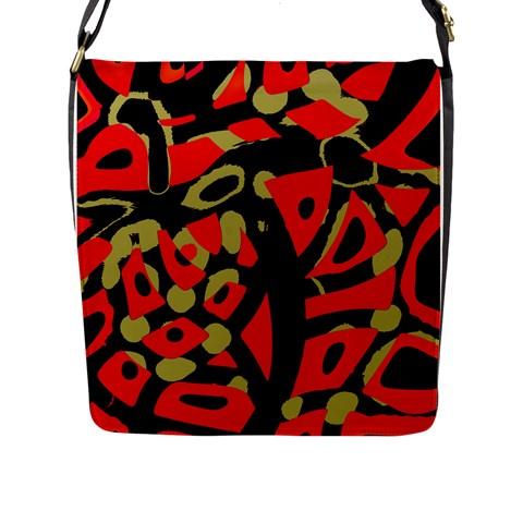 Red artistic design Flap Messenger Bag (L)