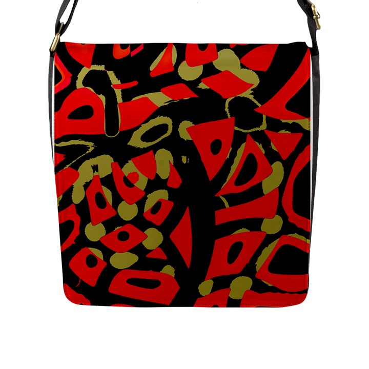Red artistic design Flap Messenger Bag (L)