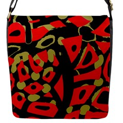 Red Artistic Design Flap Messenger Bag (s)