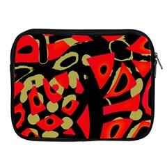 Red Artistic Design Apple Ipad 2/3/4 Zipper Cases