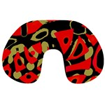Red artistic design Travel Neck Pillows Back