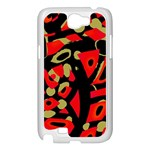 Red artistic design Samsung Galaxy Note 2 Case (White) Front